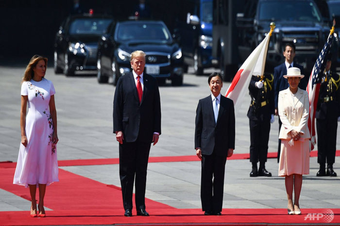 Trump becomes first foreign leader to meet Japan's new emperor