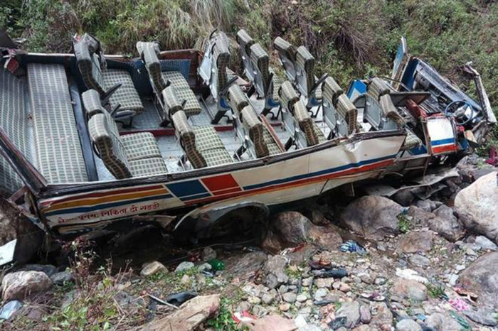 Dozens killed as overcrowded bus falls into 500ft gorge in Kashmir