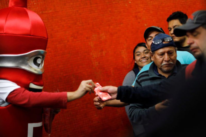 'Condom use is sexy': Mexico City campaigners dish out rubbers ahead of Valentine's Day