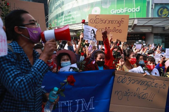 Myanmar protesters defy curfew; media outlets ordered shut